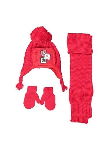By Bebek Odam By Bebek Odam Yazı Baskılı  Bebek Atkı Bere Eldiven Set  Kırmızı